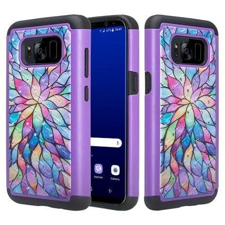 Samsung Galaxy S8 Case - Wydan Hybrid Studded Diamond Rhinestone Case Shock Resistant Cover Rainbow Flower