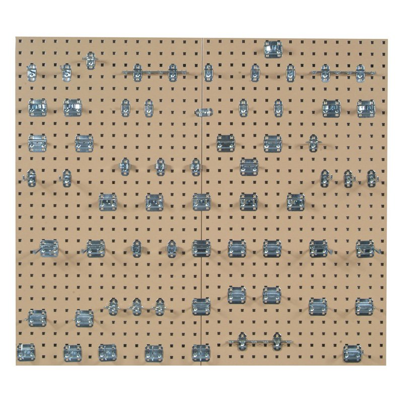 (2) 24 In. W x 42-1/2 In. H x 9/16 In. D White Epoxy 18 Gauge Steel Square Hole Pegboards w/63 pc. LocHook Assortment