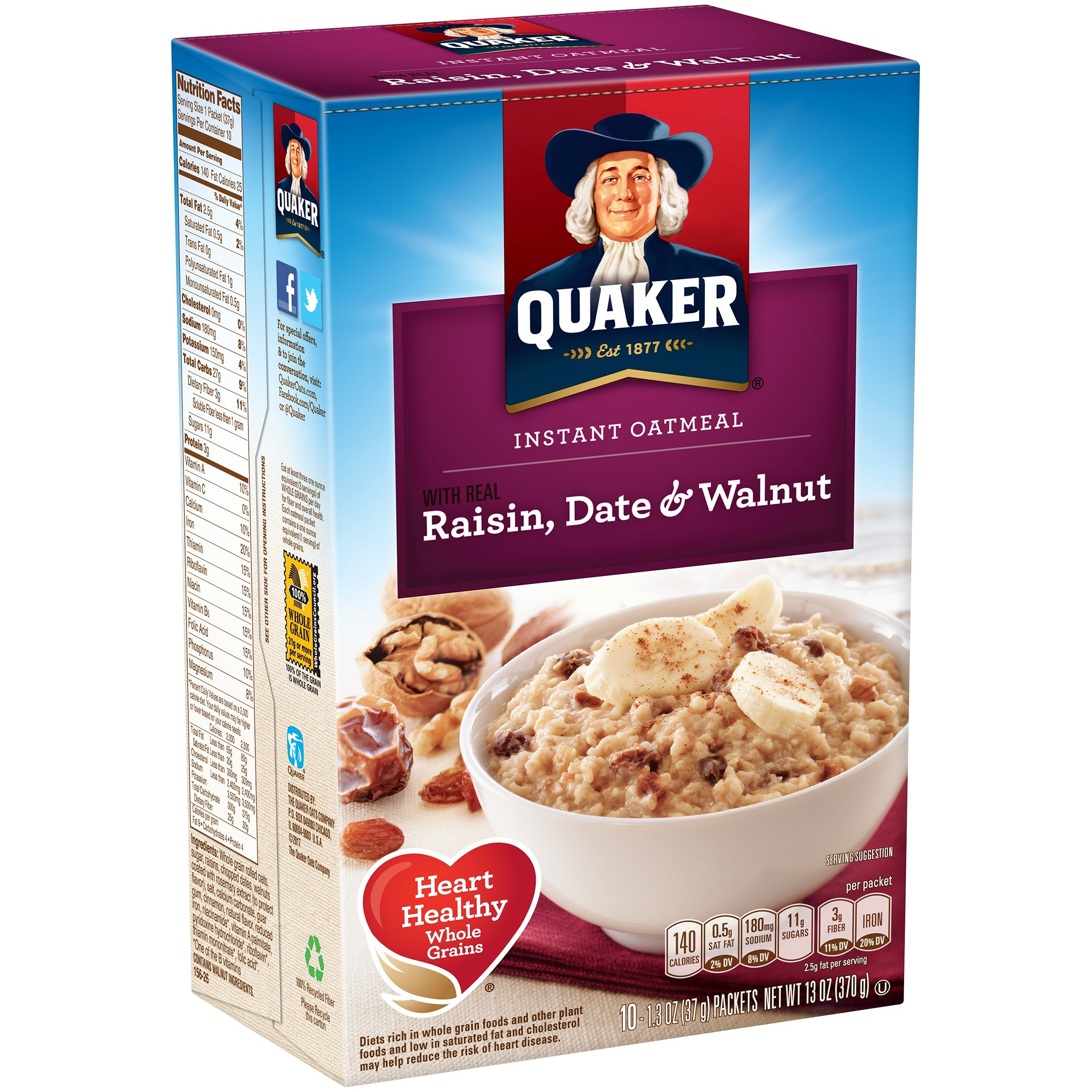 (4 Pack) Quaker Raisin Date & Walnut Instant Oatmeal, 10 Count, 1.3 oz Packets