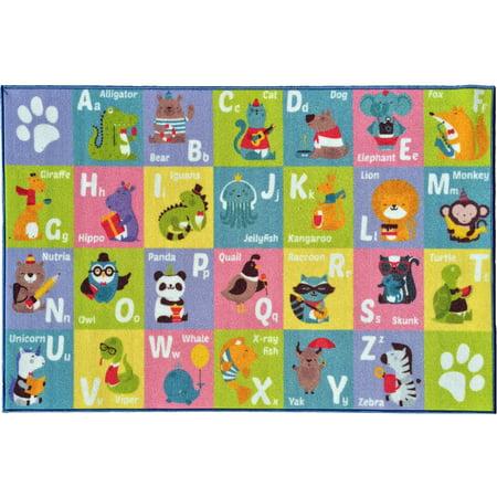 KC Cubs Playtime Collection ABC Alphabet Animal Multicolor Polypropylene Educational Area Rug (5'0