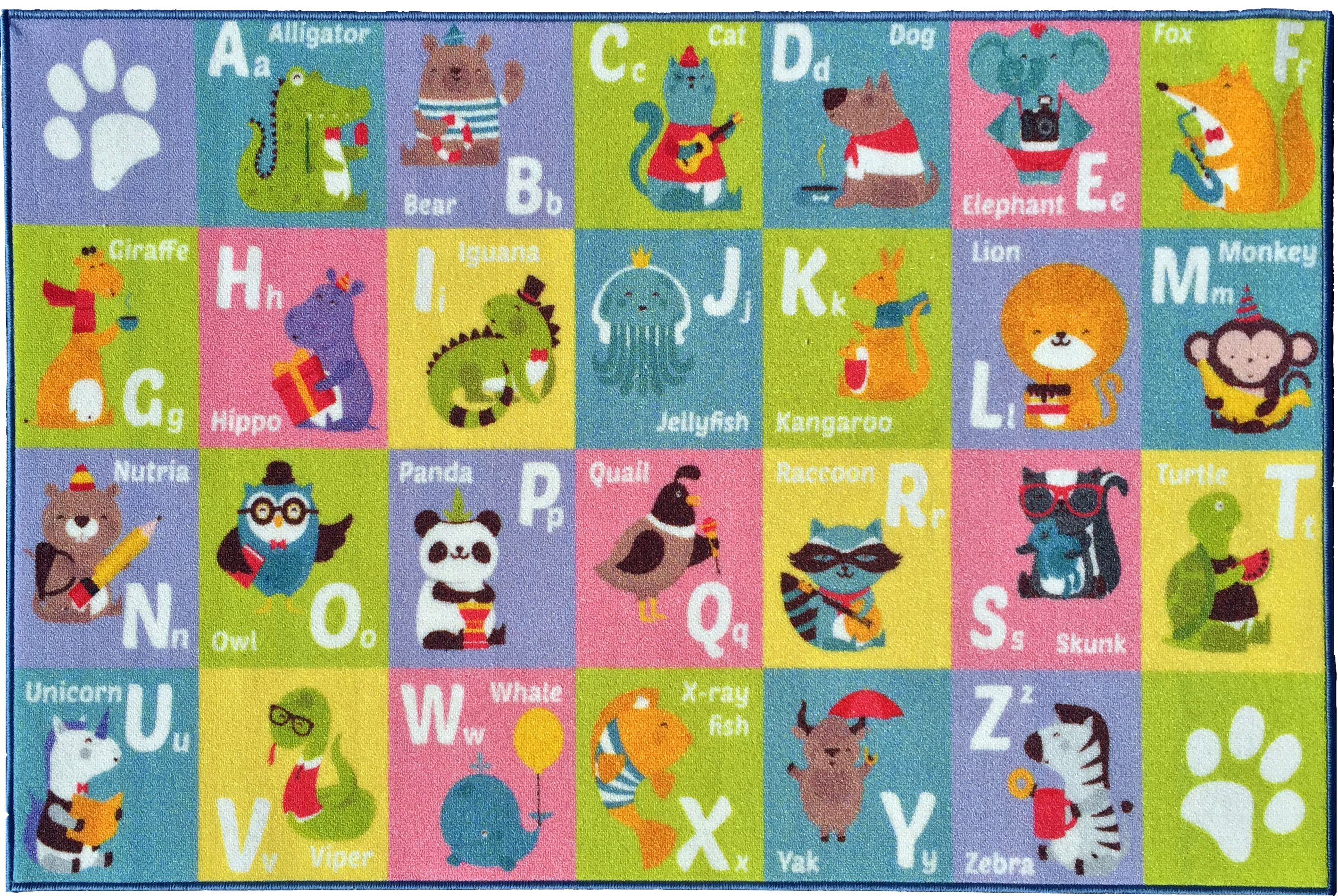 KC Cubs Playtime Collection ABC Alphabet Animal Multicolor Polypropylene  Educational Area Rug (5u00270