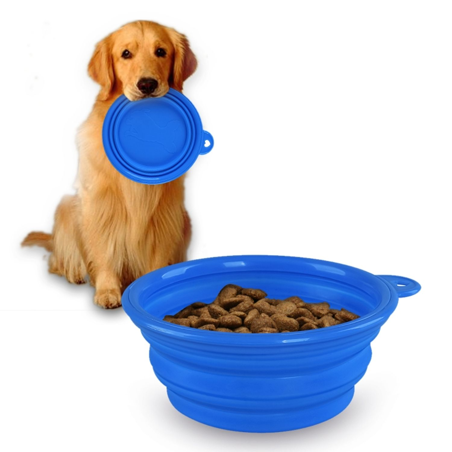 Insten Blue Cute Pet Dog Cat Silicone Portable Collapsible Travel Bowl Dish Feeding Water Feeder