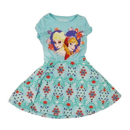 Disney Frozen Sister Love and Flowers Girls Blue Dress | (Disney's Frozen Dress)