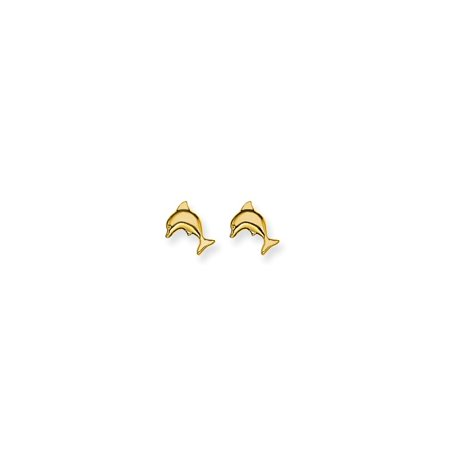 Yellow Gold Dolphin Animal - 14kt Yellow Gold 7mm Dolphin Post Stud Earrings Tool Ear Piercing Supply Animal Sea Life Fine Jewelry Ideal Gifts For Women Gift Set From Heart