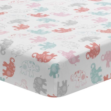Lambs Amp Ivy Boho Elephant White Pink Gray Baby Fitted