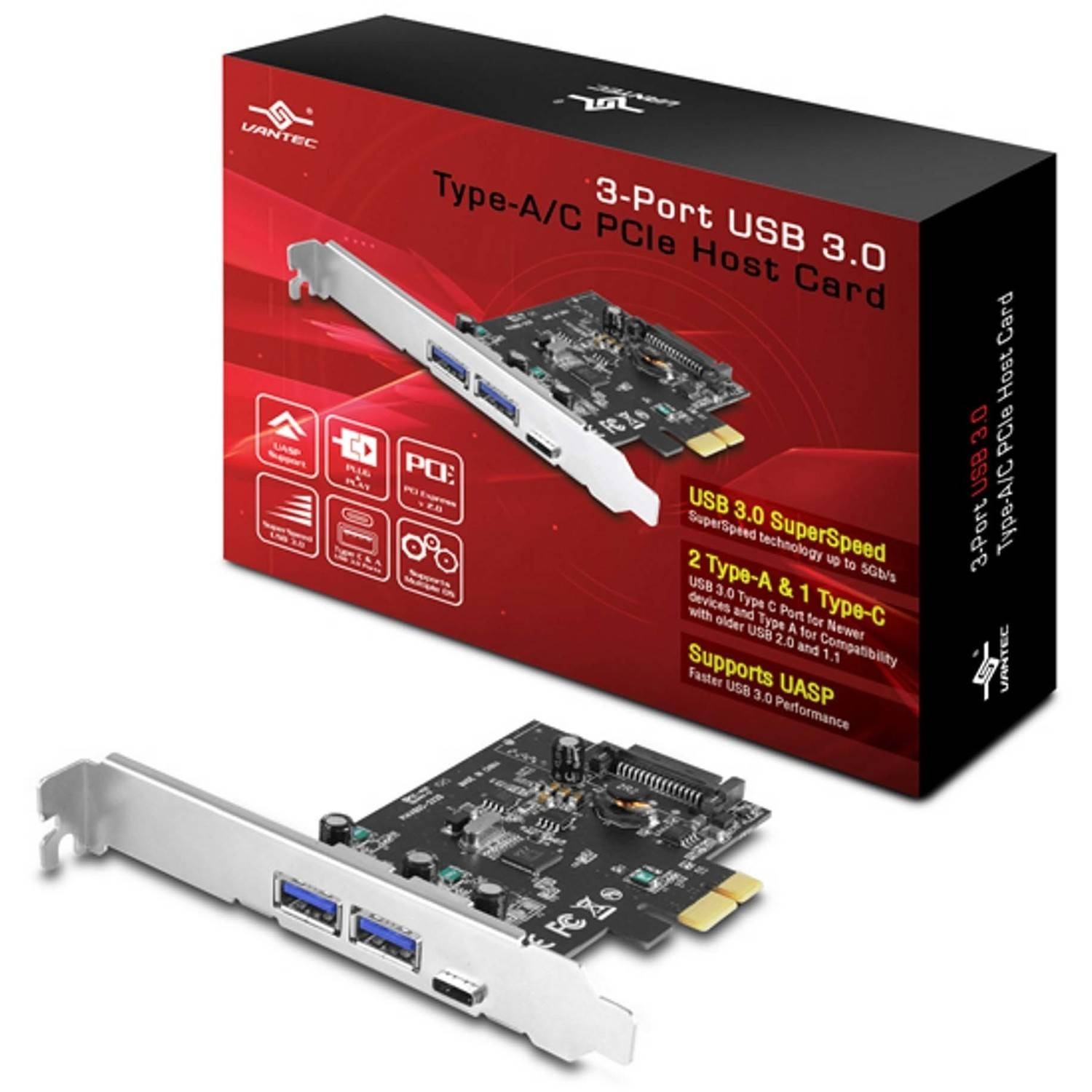 Vantec UGT-PC331AC 3-Port USB 3.0 Type A and C Port PCIe Host Card, Silver