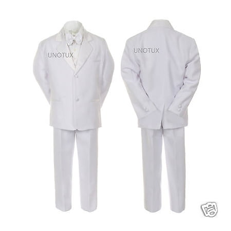 TODDLER & BOY WEDDING 1ST COMMUNION BAPTISM FORMAL TUXEDO SUIT WHITE  Small -20 (First Communion Boy Clothes)