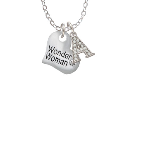 """Small Wonder Woman Heart - A - Crystal Initial Sophia Necklace, 18""""+1"""""""