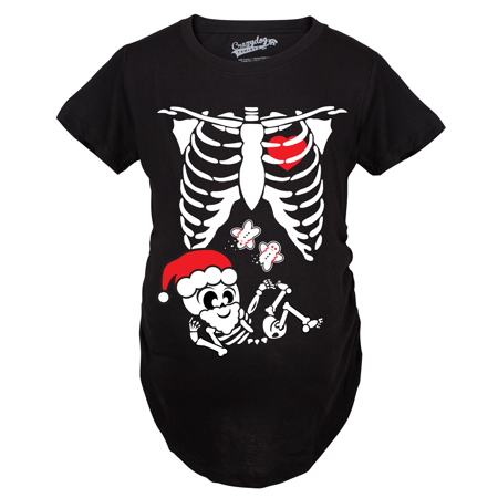 maternity santa skeleton cute christmas belly bump pregnancy shirt black walmartcom - Maternity Christmas Shirt