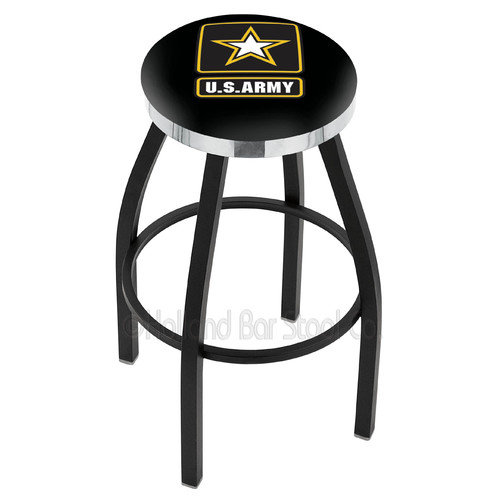 Holland Bar Stool US Armed Forces 25'' Swivel Bar Stool with Cushion