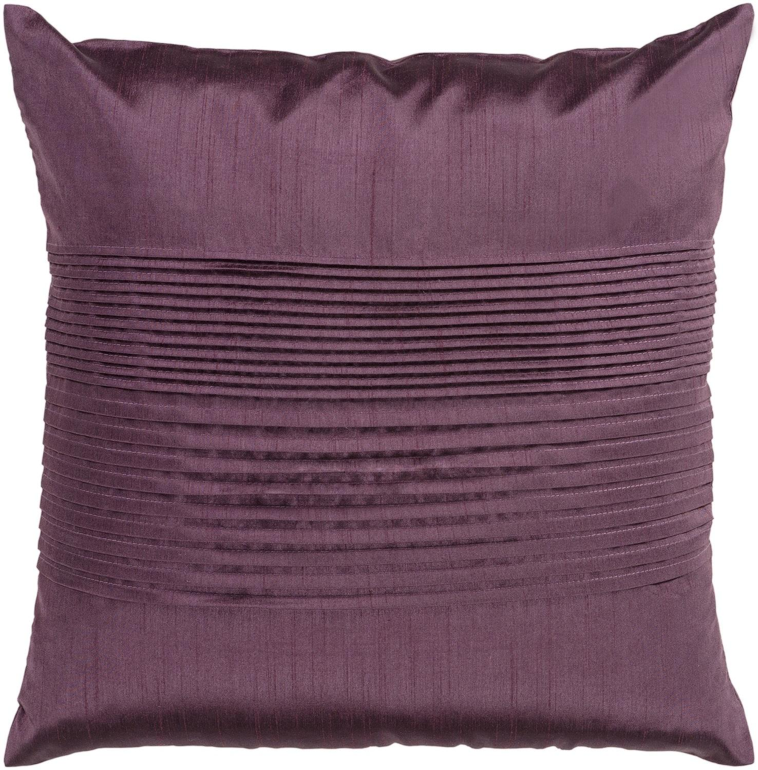 "18"" Rhubarb Purple Tuxedo Pleats Decorative Throw Pillow – Down Filler"