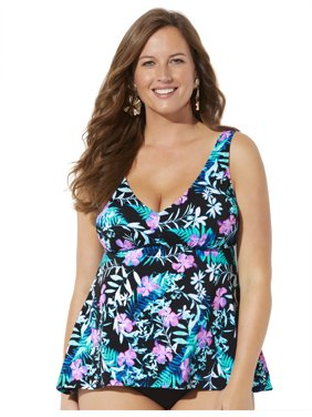 Swimsuits For All Women's Plus Size Flowy Tankini Top