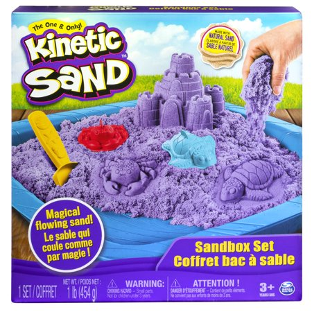 Kinetic Sand, Sandbox Playset with 1lb of Purple Kinetic Sand and 3 Molds, for Ages 3 and up