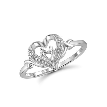 White Diamond Accent Sterling Silver Mother and Child Heart Ring (Mother Child Ring)