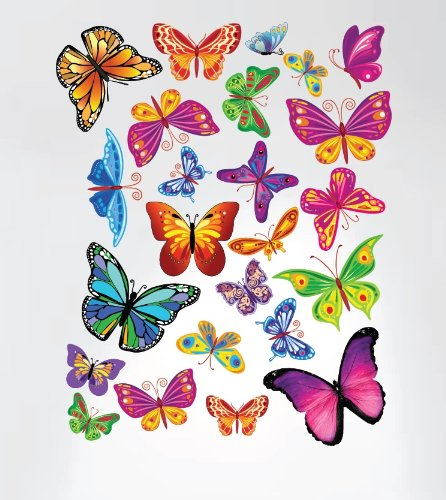 Innovative Stencils Easy Peel and Stick Colorful Butterflies Nursery Decal Instant Home Decor Wall Sticker Set... by Innovative Stencils