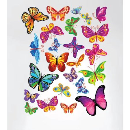 - Innovative Stencils  Easy Peel and Stick Colorful Butterflies Nursery Decal Instant Home Decor Wall Sticker Set of 33 Stickers #3005