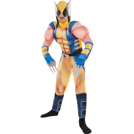 Costumes USA Wolverine Muscle Costume for Boys, Includes a Padded Jumpsuit, a Mask and Plastic - Wolverine Mask Kids