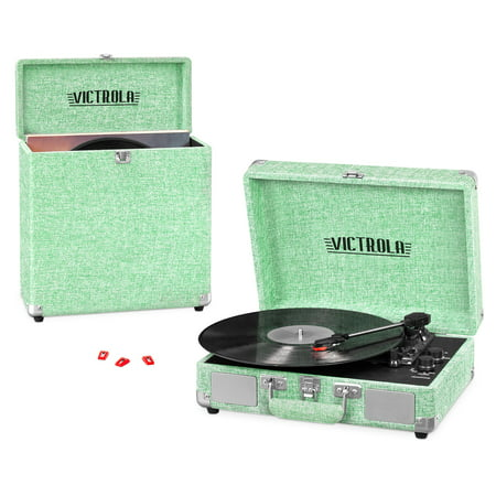 Victrola Record Player Bundle Includes a 3-Speed Turntable, Record Storage Case and Replacement Needles, Light Mint Green (Record Player In Case)