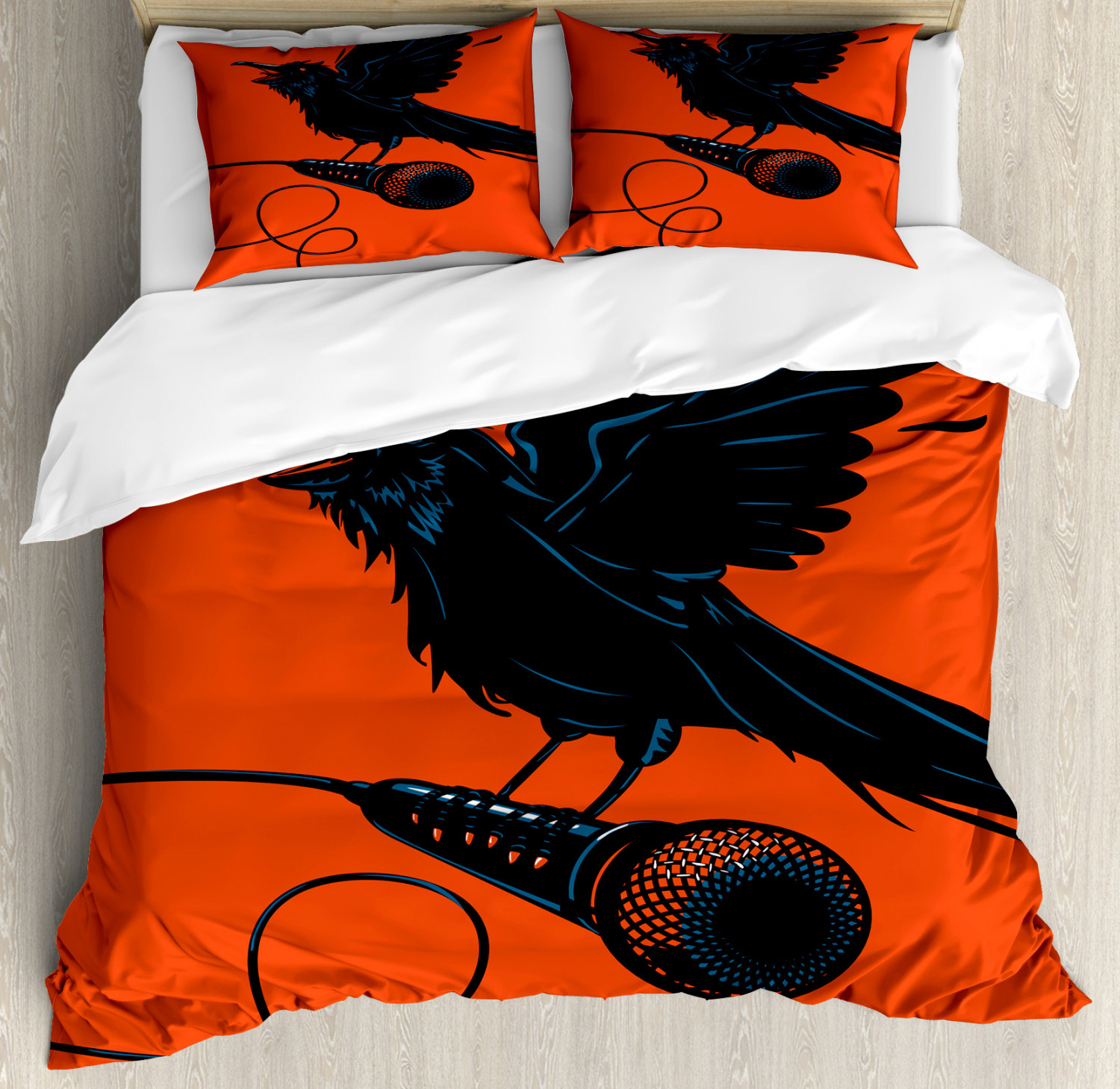 Indie Duvet Cover Set Raven Is Holding A Microphone Rock Music Theme Festival Party Gothic Singer Decorative Bedding Set With Pillow Shams Orange Black Blue By Ambesonne Walmart Com Walmart Com