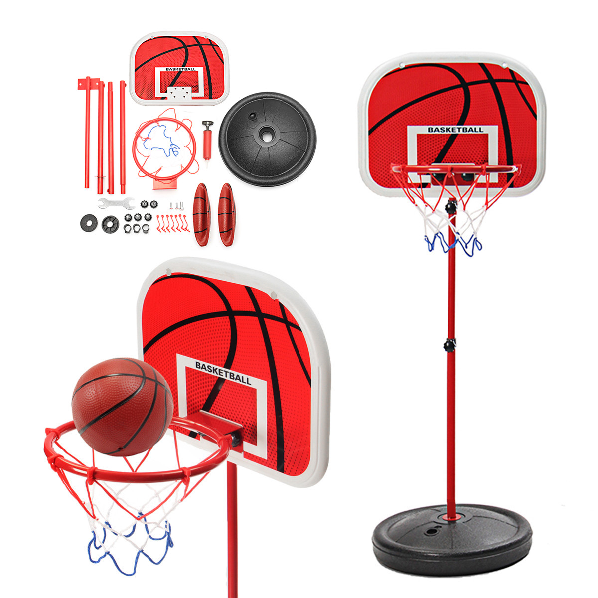 For 50-130cm Children Adjustable 73-170CM Basketball Hoop Kid Mini Basketball Stand Back Board & Hoop w  16cm basketball... by