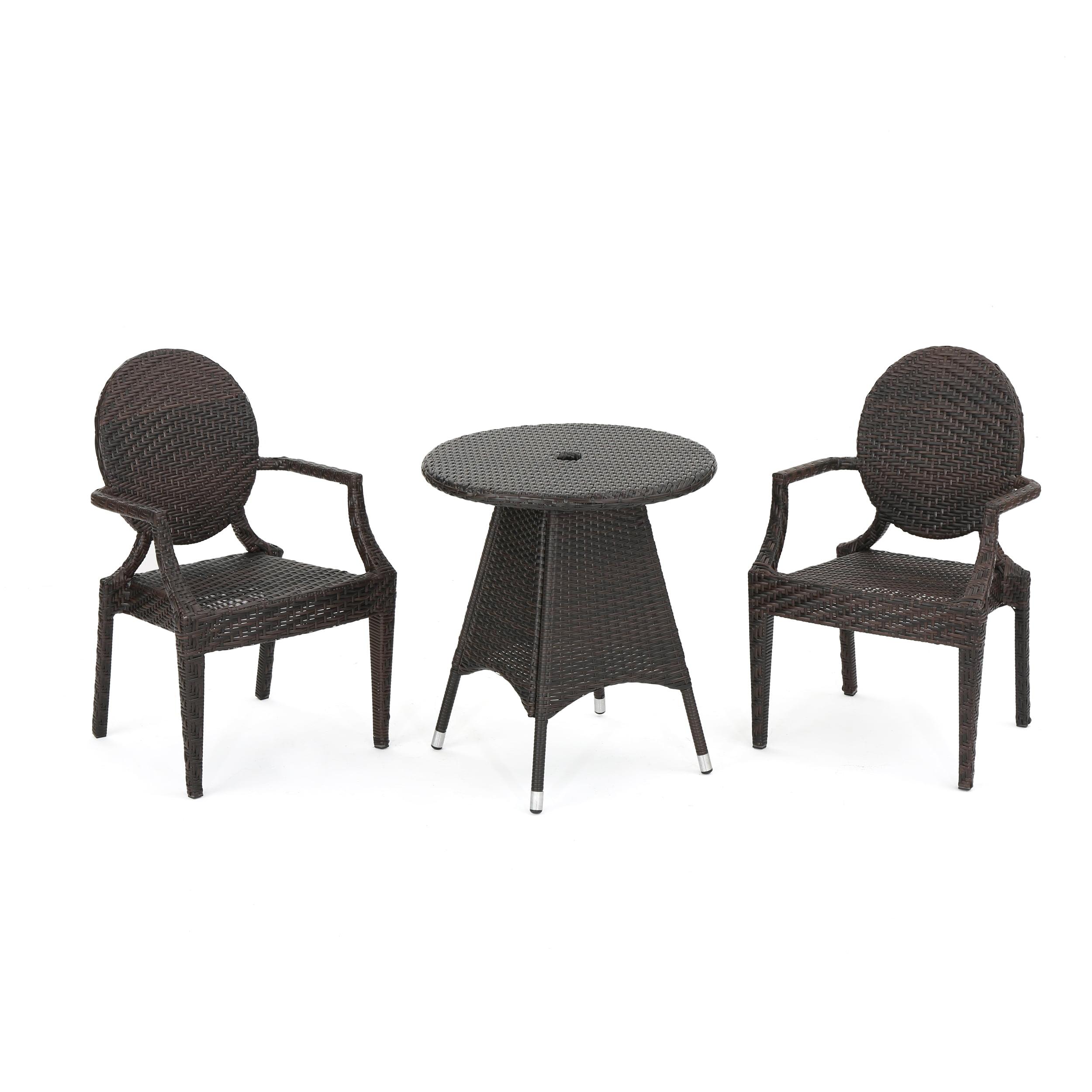 Demuir Outdoor 3-Piece Wicker Dining Set, Multibrown