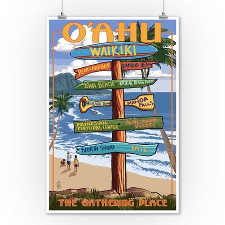 Waikiki, Oahu, Hawaii - Sign Destinations (with Nani Aloha Street) - Lantern Press Poster (9x12 Art Print, Wall Decor Travel Poster)
