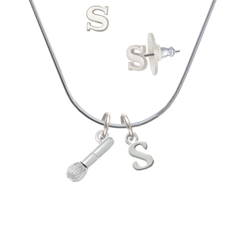 3-D Makeup Brush - S Initial Charm Necklace and Stud Earrings Jewelry Set