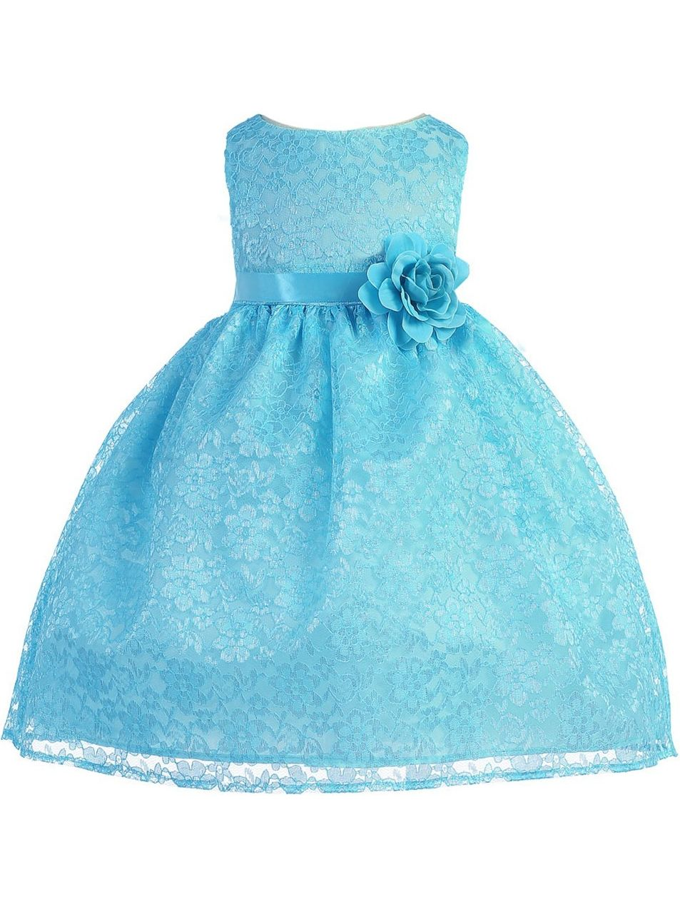 Baby Girls Turquoise Floral Lace Flower Girl Dress 6-24M