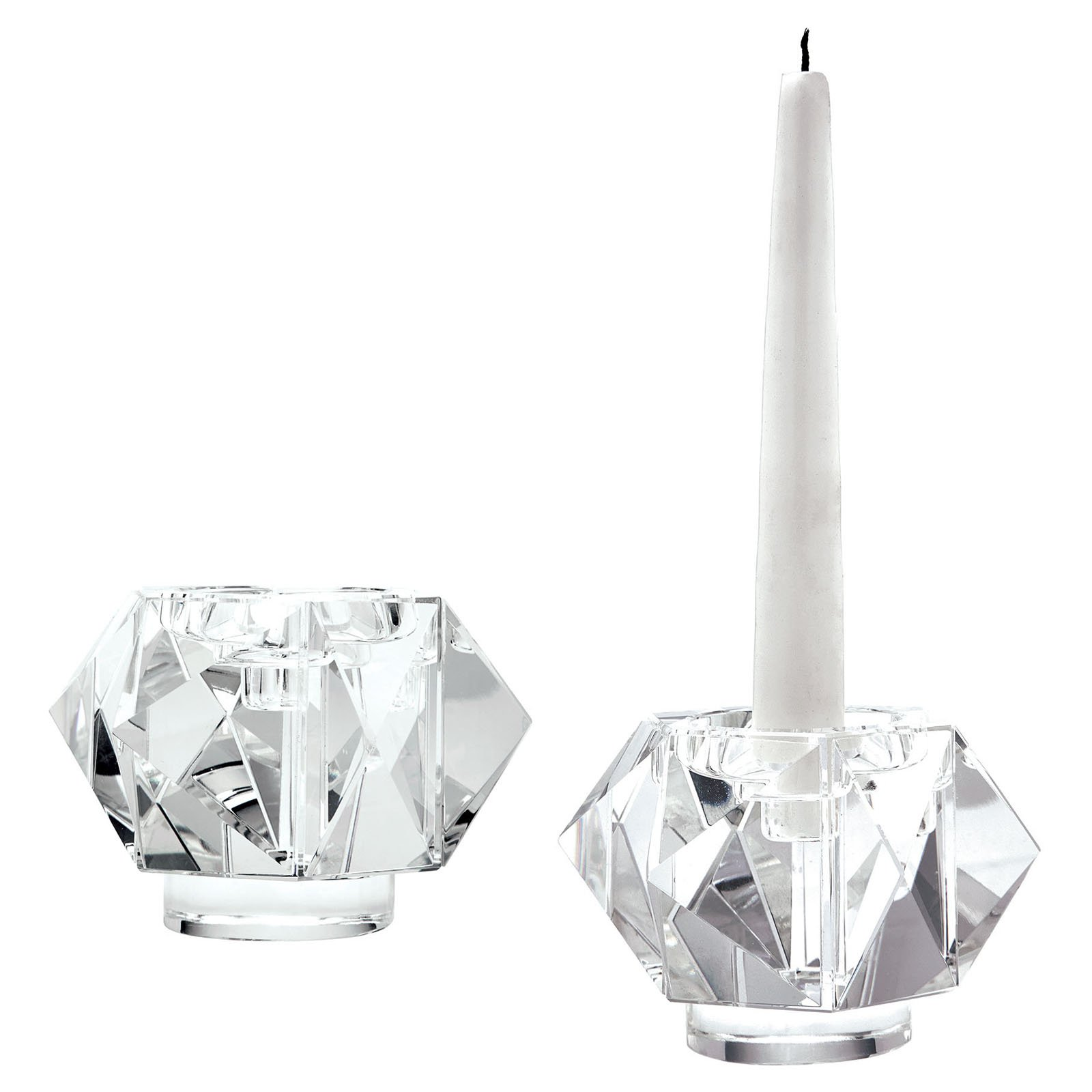 Dimond Home Faceted Star Crystal Candle Holders - Set of 2