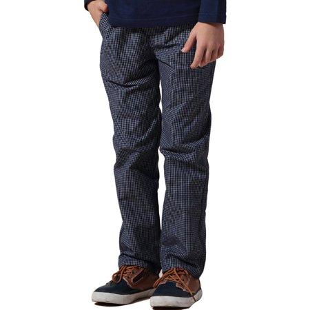 Leo&Lily Big Boys' Kids Casual Husky Waist Yarn Dyed 100% Cotton Pants
