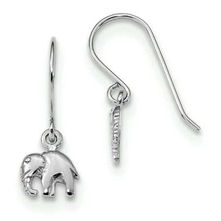 Sterling Silver Rhodium-plated Polished Elephant Dangle