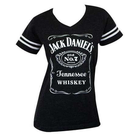 Jack Daniels Striped Soccer Ladies Tee - Jack Daniels Halloween