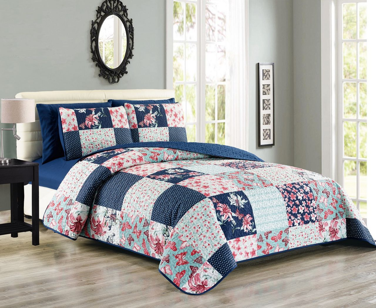 Click here to buy 6 Piece Floral Butterfly Patchwork Reversible Bedspread Quilt with SHeet Set.
