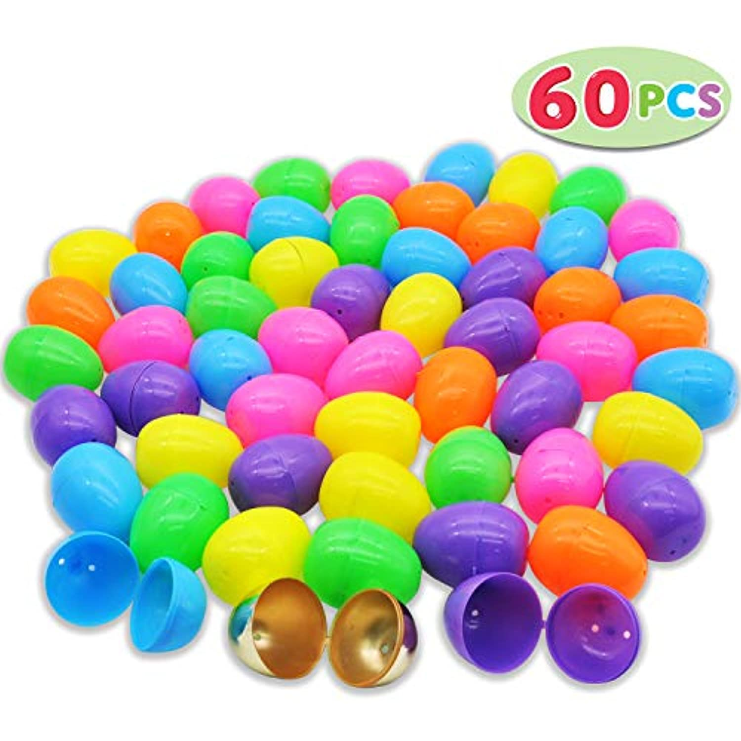Easter Theme Party Favor Easter Eggs Hunt Basket Stuffers Filler Kissdram 66 Pieces 2.41 Easter Eggs Include 6 Golden Egg for Filling Specific Treats Classroom Prize Supplies