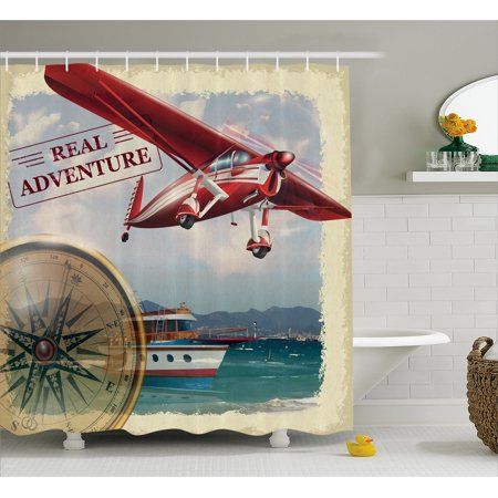 Adventure Shower Curtain Real Quote With Coastline And A Red Airplane Journey Travel Themed