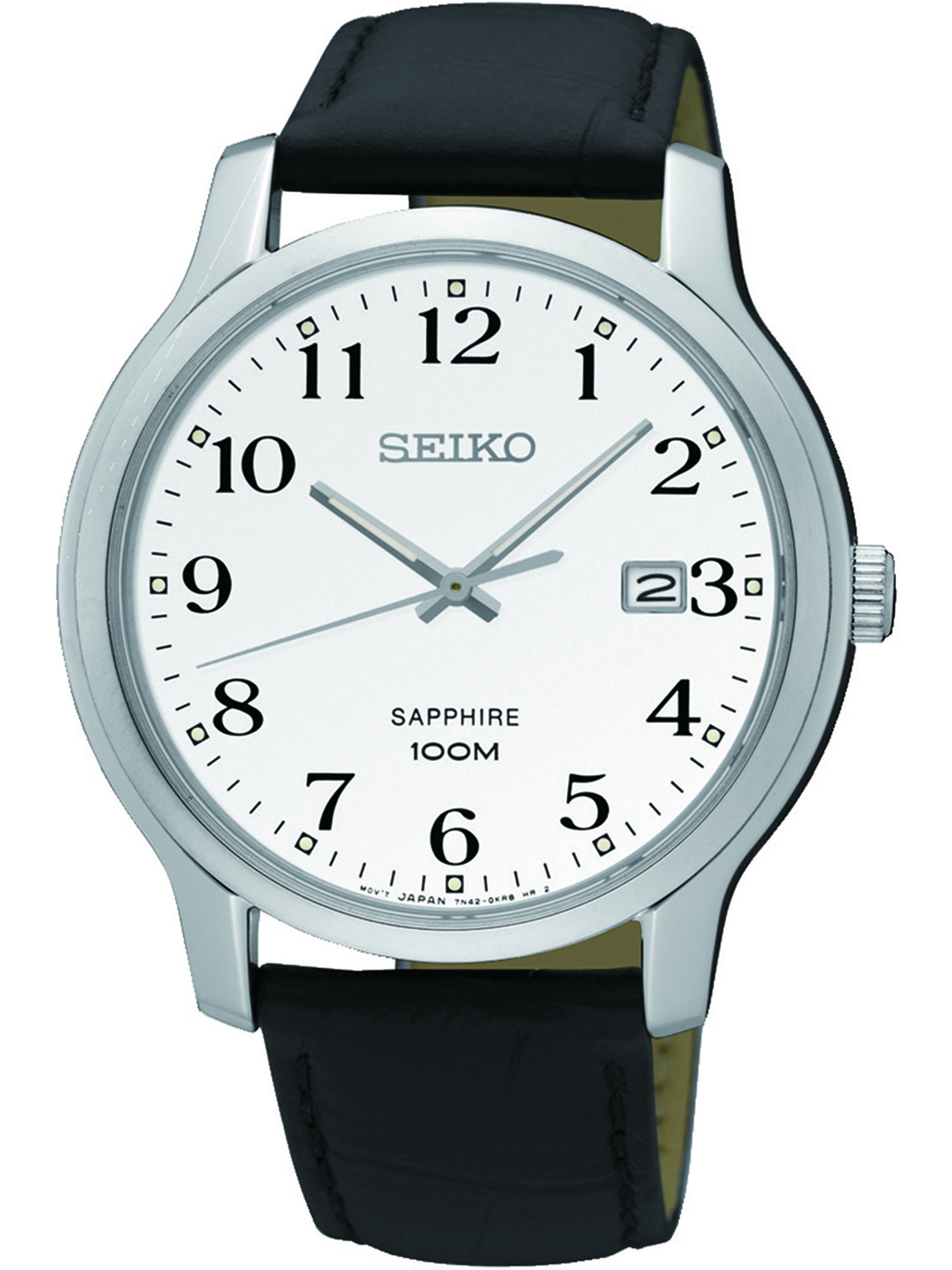 SEIKO SGEH69P1,Men's dress,Stainless Steel Case,leather strap,Sapphire Crystal,Date,100m WR,SGEH69