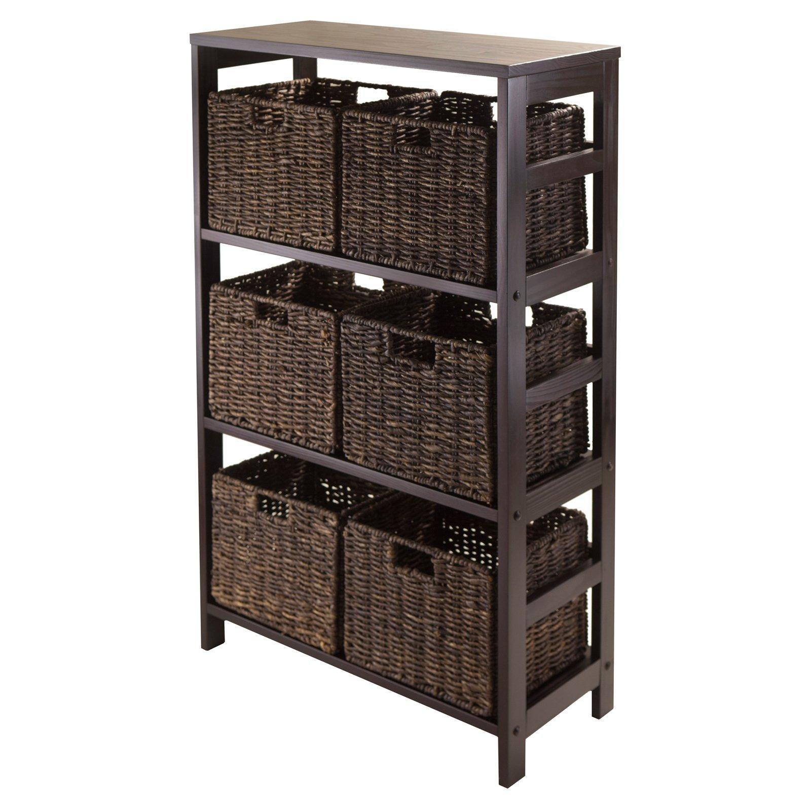 Winsome Wood Granville 7-PC Storage Shelf Set w/ Corn Husk Baskets