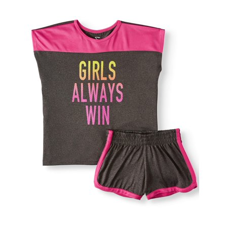Graphic Colorblock Mesh Trim Top and Short, 2-Piece Active Set (Little Girls & Big Girls)