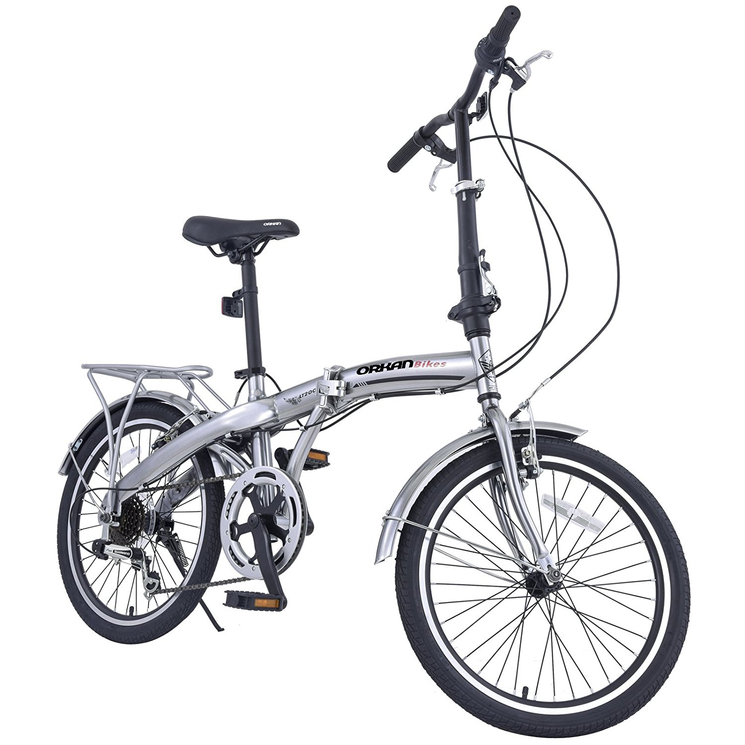 "Uenjoy 20"" 6 Speed Foldable Bicycle Folding Bike Shimano Hybrids,Sliver"