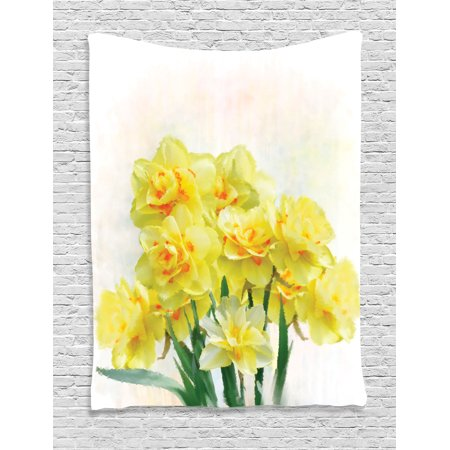 Flower Tapestry Wall Hanging Digital Watercolors Paint of Daffodils Bouquet Called Jonquils in England Lent Lily, Bedroom Living Room Dorm Decor, Yellow Green, by Ambesonne