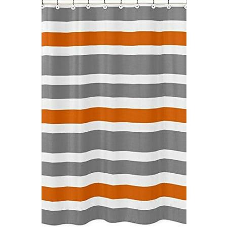 sweet jojo designs gray, orange and white kids bathroom fIric bath teen stripe shower curtain
