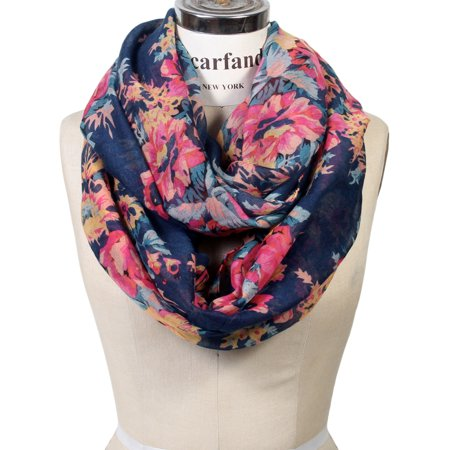 Rose Wrap - Women's Romantic Rose Print Lightweight Infinity Scarf & Head Wrap