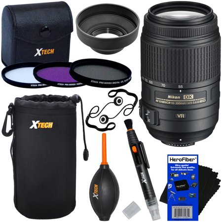 Nikon AF-S DX NIKKOR 55-300mm VR Zoom Lens for D3200, D3300, D3400, D5100, D5200, D5300, D5500, D5600, D7000, D7100 & D7200 DSLR Cameras + 3pc Filter Kit (UV,FL-D,CPL) + 8pc Accessory Kit w/