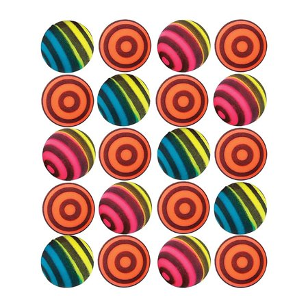 Striped Bouncing Balls - Pack Of 24 Assorted Neon Colored Stripe Designs (Assorted Designs Pack)