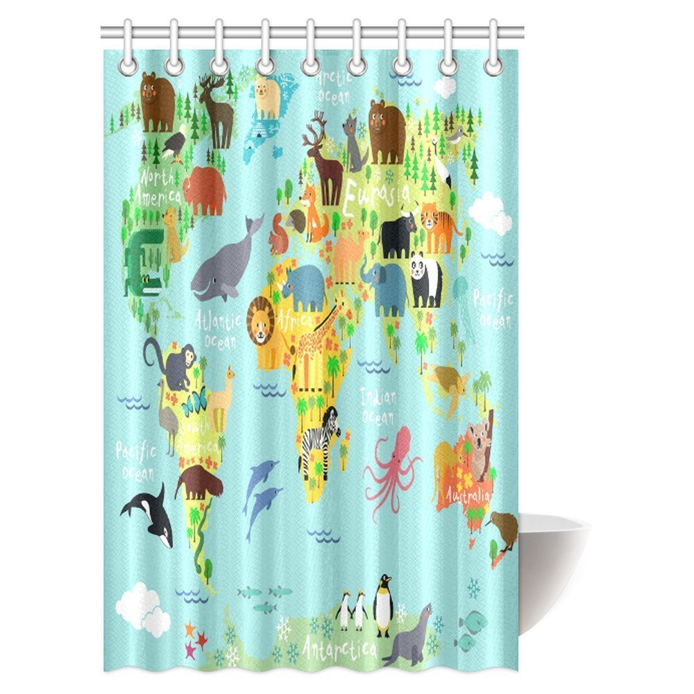Gckg children kids shower curtain decor animal map of the world for gckg children kids shower curtain decor animal map of the world for children and kids cartoon ocean mountains forests fabric bathroom set with hooks gumiabroncs Gallery