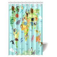 MYPOP Children Kids Shower Curtain Decor, Animal Map of the World for Children and Kids Cartoon Ocean Mountains Forests Fabric Bathroom Set with Hooks, 48 X 72 Inches, Green Yellow Blue