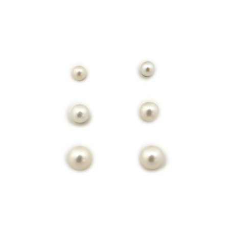 14k Gold or Sterling Silver 3mm, 4mm and 5mm AAA White Freshwater Cultured Pearl Stud Earrings Set