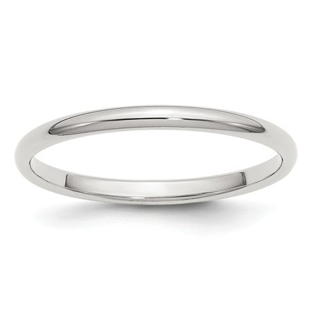 Sterling Silver Solid Polished Half Round Engravable 2mm Half-Round Band - Ring Size: 4 to 13.5 4 Round Czs Ring