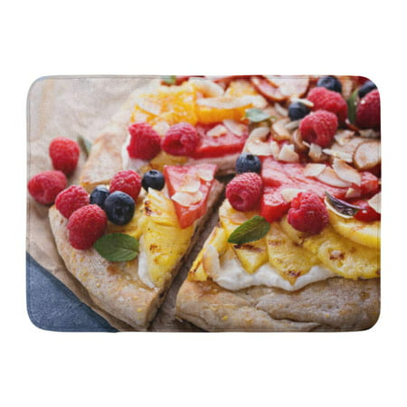 GODPOK Colorful Vegan Grilled Fruit Pizza with Cream Cheese Honey and Coconut Best Summer Dessert Green Above Rug Doormat Bath Mat 23.6x15.7