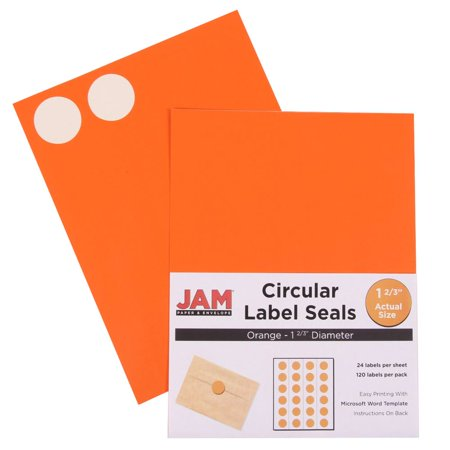 JAM Paper Round Circle Label Sticker Seals - 1 2/3 Diameter - Orange - 120/pack JAM Paper® Orange Round Circle Label Sticker Seals measure 1 2/3 inches in diameter and are sold on sheets of 24 labels. Each pack contains 5 sheets for a total of 120 labels per pack! These labels feature a bold and stunning orange color that will make your mail appear bright and noticeable! These labels are great for reinforcing envelopes and small packages as well as creating small price tags and labeling items with initials and more! Compatible with most printers, these labels can be customized in your own office or home. They are also easy to write on with most kinds of pens and markers. Try these round labels for your home or office needs.